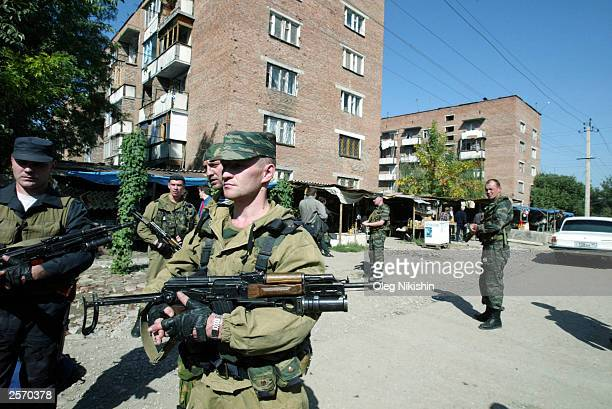 Russian soldiers patrol the streets in Grozny in Chechnya October 6 2003 in Chechnya Russia The Kremlin's candidate Akhmad Kadyrov won a landslide...