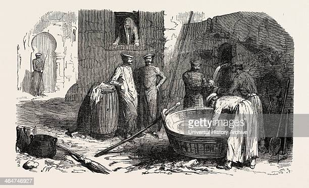 Russian Soldiers Preparing Their Meals 1855 Engraving