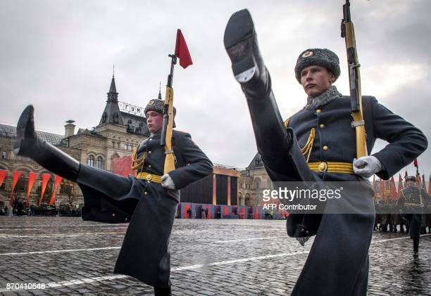 Russian soldiers rehearse for a forthcoming parade on Red Square in Moscow on November 5 2017 The event will take place on November 7 marking the...