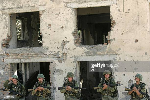 Russian soldiers wait in the Fourth Russian Military base in Zartsen outside Tskhinvali on August 6 2010 Two years after a decisive victory in the...