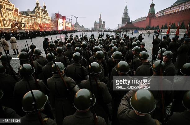 Russian soldiers wearing World War II-era Red Army uniforms take part in a military parade general rehearsal, in Moscow on November 5 as Russia marks...