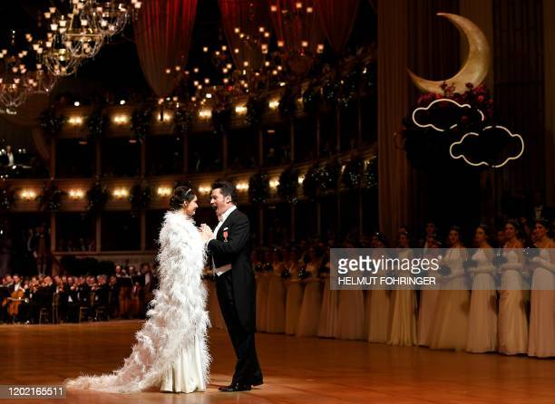 Russian soprano Aida Garifullina and Polish tenor Piotr Beczala perform during the annual Opera Ball in Vienna Austria on February 20 2020 / Austria...