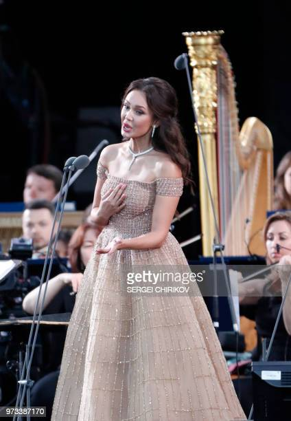 Russian soprano Aida Garifullina performs during a galaconcert dedicated to the Russia 2018 World Cup football tournament at Red Square in Moscow on...