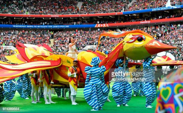 Russian soprano Aida Garifullina performs during the opening ceremony before the Russia 2018 World Cup Group A football match between Russia and...