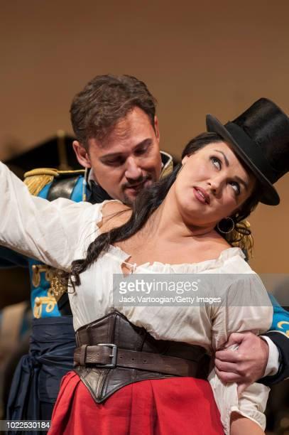 Russian soprano Anna Netrebko and Polish baritone Mariusz Kwiecien premiere of the Metropolitan Opera/Bartlett Sher production of 'L'Elisir d'Amore'...
