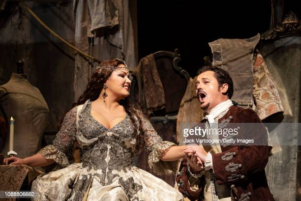 Russian soprano Anna Netrebko and Polish tenor Piotr Beczala perform at the final dress rehearsal prior to the premiere of the Metropolitan Opera/Sir...