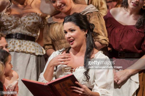 Russian soprano Anna Netrebko performs at the final dress rehearsal prior to the premiere of the Metropolitan Opera/Bartlett Sher production of...