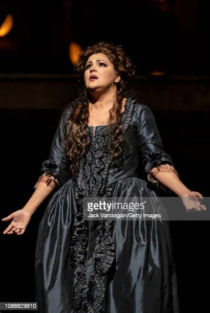 Russian soprano Anna Netrebko performs at the final dress rehearsal prior to the premiere of the Metropolitan Opera/Sir David McVicar production of...