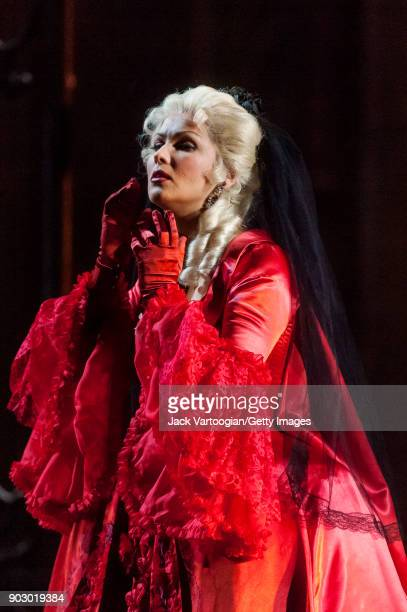 Russian soprano Anna Netrebko performs during the final dress rehearsal of Act 3 scene 2 of the Metropolitan Opera/JeanPierre Ponnelle production of...