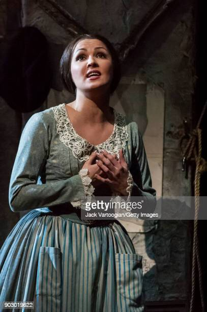 Russian soprano Anna Netrebko performs during the final dress rehearsal of Act 1 of the Metropolitan Opera/Franco Zeffirelli production of 'La...