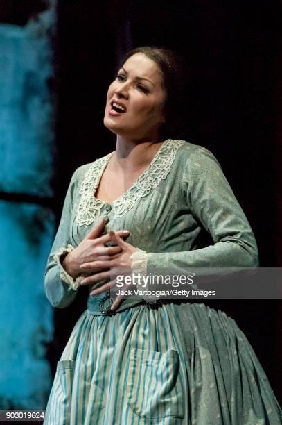 Russian soprano Anna Netrebko performs during the final dress rehearsal of Act 1 of the Metropolitan Opera/Franco Zeffirelli production of 'La...