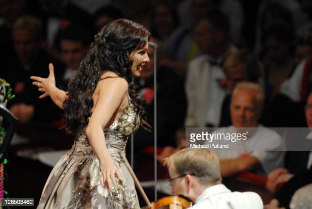 Russian soprano Anna Netrebko performs on stage at the Last Night Of The Proms Royal Albert Hall London 8th September 2007