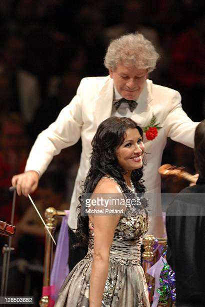 Russian soprano Anna Netrebko performs on stage with conductor Jiri Belohlavek at the Last Night Of The Proms Royal Albert Hall London 8th September...
