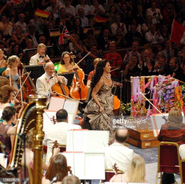 Russian soprano Anna Netrebko performs on stage with the BBC Symphony Orchesta at the Last Night Of The Proms Royal Albert Hall London 8th September...