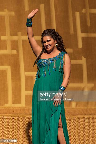 Russian soprano Anna Netrebko takes a bow after her performance at the final dress rehearsal prior to the season revival of the Metropolitan...
