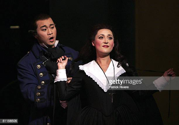 Russian soprano Elvira Fatykhova and tenor Han Lim perform in a new production of Massenet's 'Manon' at the Sydney Opera House August 9 2004 in...