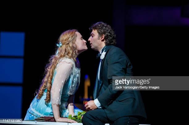 Russian soprano Marina Poplavskaya and German tenor Jonas Kaufmann perform during the final dress rehearsal prior to the premiere of the Metropolitan...