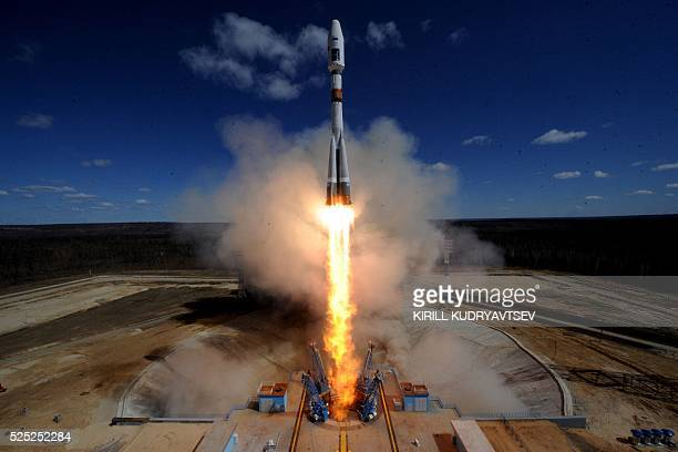 Russian Soyuz 21a rocket carrying Lomonosov Aist2D and SamSat218 satellites lifts off from the launch pad at the new Vostochny cosmodrome outside the...