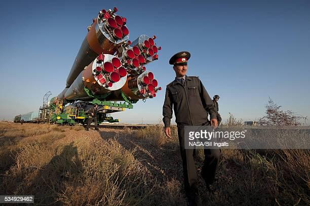 Russian Soyuz rocket rollout for launch in Kazakhstan