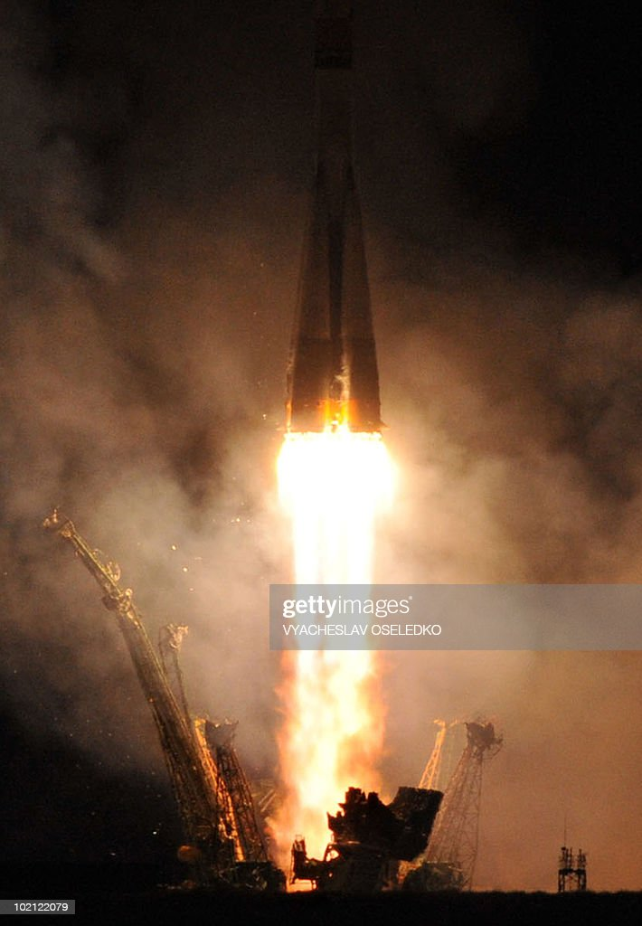 A Russian Soyuz TMA-19 rocket with US astronauts Doug Wheelock, Shannon Walker and Russian cosmonaut Fyodor Yurchikhin blasts off from Kazakhstan's Russian-leased Baikonur cosmodrome on June 16, 2010 on its way to the International Space Station (ISS). The Soyuz is due to dock with the ISS early Friday. The mission is the last launch by a Soyuz rocket to the ISS before the US space shuttle program is mothballed later this year, leaving the burden of travel to the ISS entirely on Russian spacecraft.