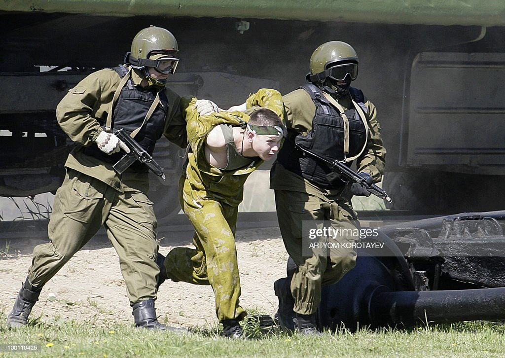 Russian special troops 'capture a terrorist' during a training exercise 60 km from Moscow in Noginsk on May 21, 2010. Various emergency and military special units held a day of training activities.
