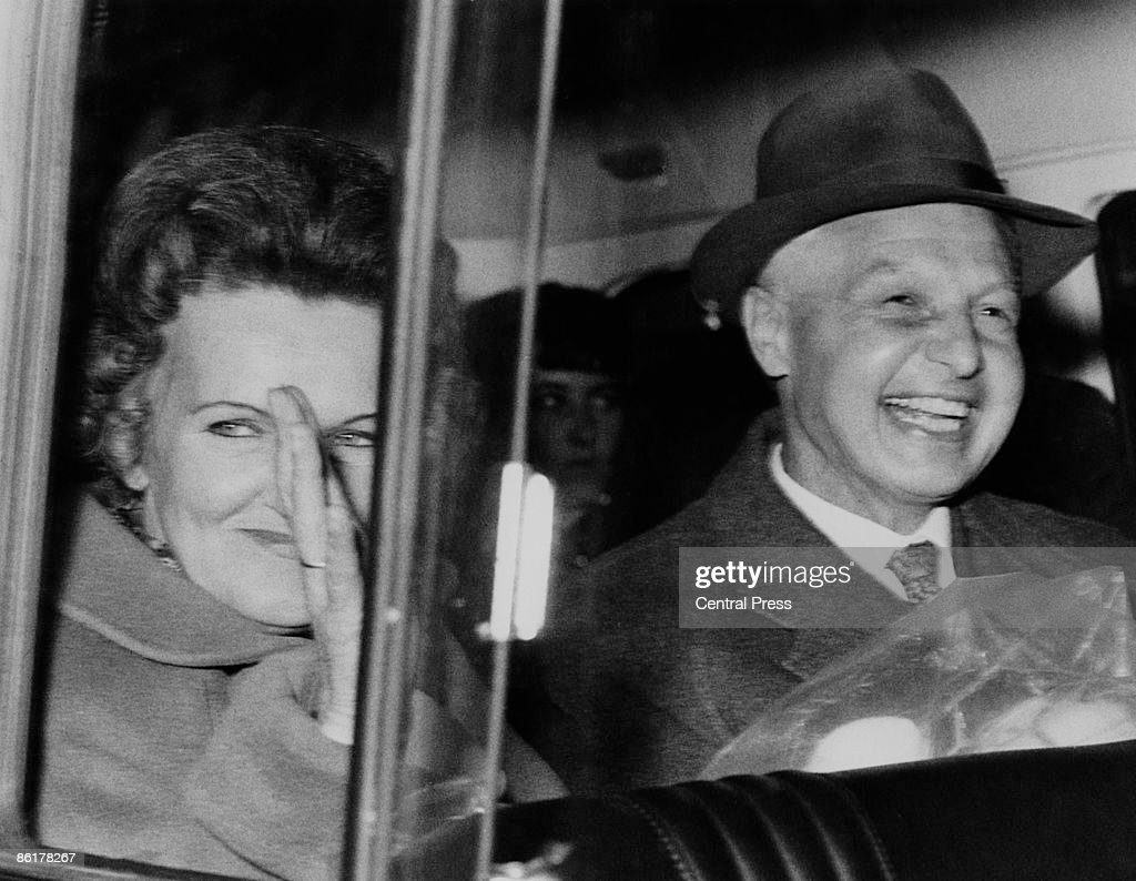 Russian spies Morris and Lona Cohen, who worked in London under the assumed names Peter and Helen Kroger, arrive at London's Heathrow Airport, 24th October 1969. Jailed in 1961 for their involvement with the Portland Spy Ring, they are being released in exchange for Gerald Brooke, a British citizen arrested in the Soviet Union. They will be flown to Warsaw in a BEA aircraft.
