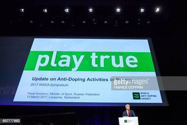 Russian Sport Minister Pavel Kolobkov addresses the assembly at the opening of the 2017 edition of the World AntiDoping Agency Annual Symposium on...