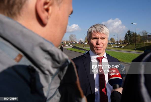 Russian Sport Minister Pavel Kolobkov gives an interview on the sidelines of a conference of the World Anti-Doping Agency in Katowice, Poland, on...