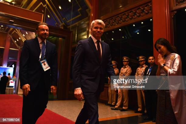 Russian Sport Minister Pavel Kolobkov is seen on arrival at the SportAccord Opening Ceremony at the Royal Thai Navy Convention Hall on April 17 2018...