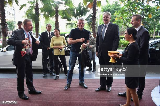 Russian Sport Minister Pavel Kolobkov is seen on arrrival during day two of the SportAccord at Centara Grand Bangkok Convention Centre on April 16...