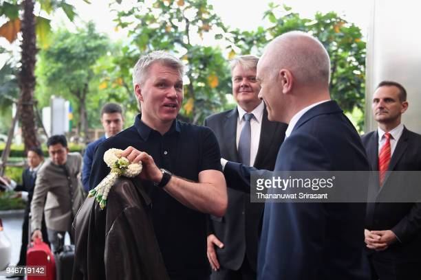 Russian Sport Minister Pavel Kolobkov is welcomed by SportAccord Managing Director Nis Hatt during day two of the SportAccord at Centara Grand...