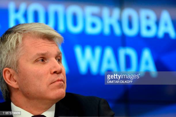 Russian Sports Minister Pavel Kolobkov holds a press conference in Moscow on December 9, 2019. - Russia will miss next year's Tokyo Olympics and the...