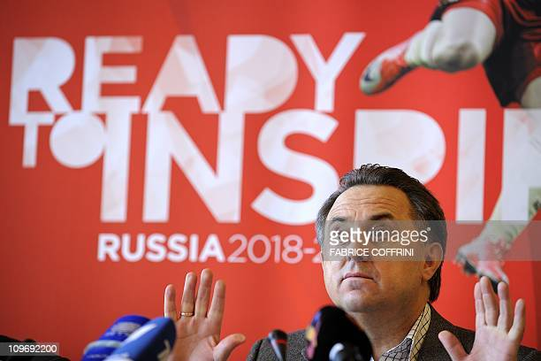 Russian Sports Minister Vitaly Mutko gives a press conference on November 30 2010 in Zurich before his country's 2018 World Cup bid to world...
