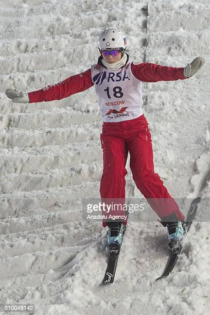 Russian sportswoman Lubov Nikitina in action during the World Cup FIS Freestyle Skiing on the territory of the Olympic rowing channel Krylatskoye in...