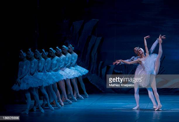 Russian state ballet dancers perfom on stage during the 'Swan Lake' show at the Oper Graz on January 6 2012 in Graz Austria