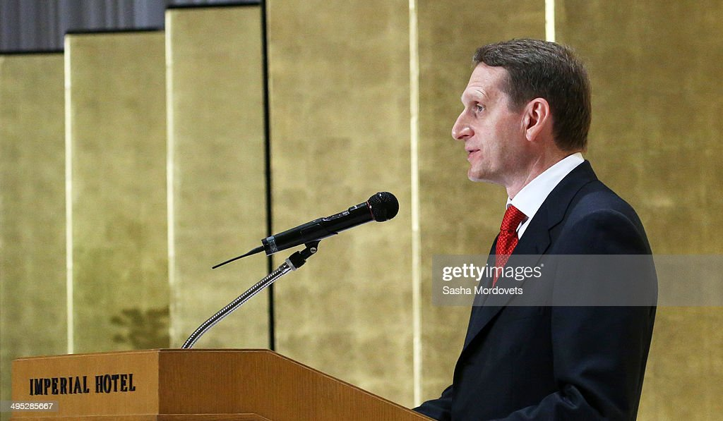 Russian State Duma Speaker Sergei Naryshkin speaks during the openings of the Festival of Russian Culture on June 2, 2014 in Tokyo, Japan. Naryshkin, who is under sanctions of EU and U.S., is having a two-day parliamentary visit to Japan.