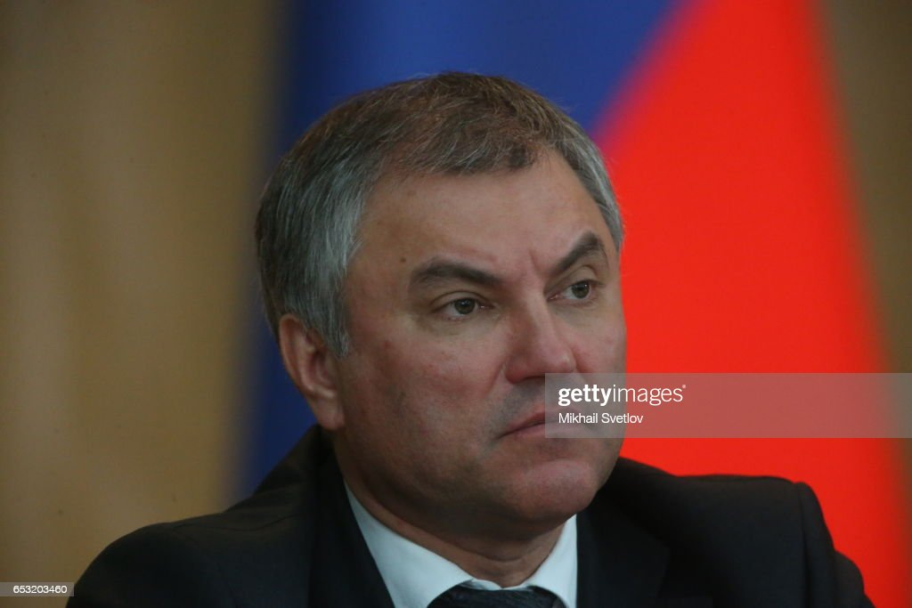 Russian State Suma Chairman Vyacheslav Volodin attends the Prosecutor General's Annual Board on March 14, 2017 in Moscow, Russia.