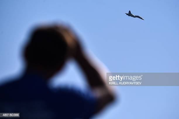 Russian Sukhoi SU-35S fighter performs during the MAKS-2015, the International Aviation and Space Show, in Zhukovsky, outside Moscow, on August 25,...