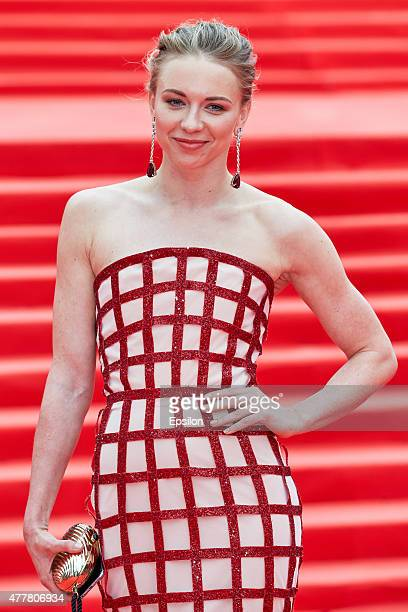 Russian synchronised swimmer Olympic Champion Angelica Timanina attends the opening ceremony of the Moscow International Film Festival at Pushkinsky...
