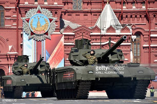Russian T14 Armata tanks roll at Red Square during the Victory Day military parade in Moscow on May 9 2016 Russia marks the 71st anniversary of the...