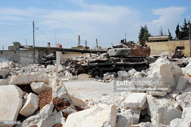A Russian T-72 main battle tank destroyed in Azaz, Syria.