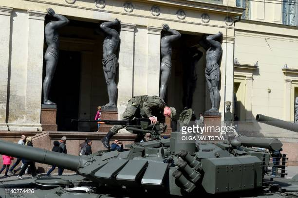 Russian T72B3 tanks are seen parked prior to a rehearsal for the Victory Day military parade in Saint Petersburg on April 30 2019 Russia will...