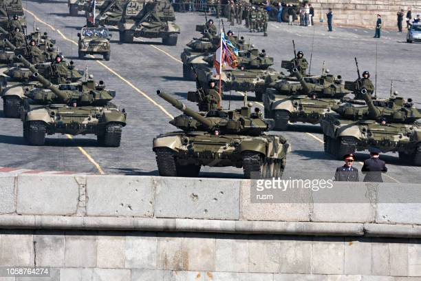 russian t-90 tanks in military parade - russian military stock pictures, royalty-free photos & images