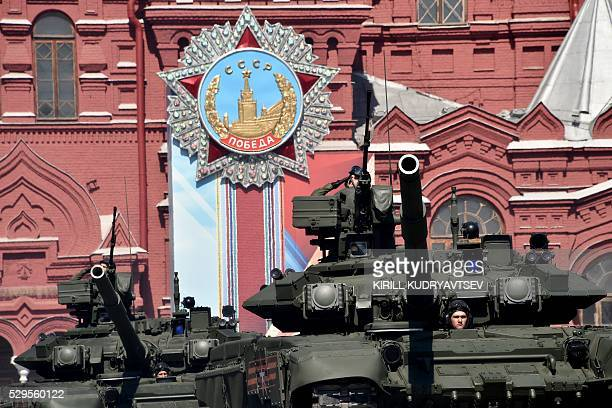 Russian T90A tanks roll at Red Square during the Victory Day military parade in Moscow on May 9 2016 Russia marks the 71st anniversary of the Soviet...