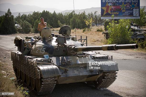 A Russian tank sits at a roadblock as the tense standoff on the north of Georgia continued on August 15 2008 near Gori Georgia US Secretary of State...