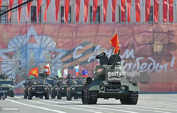 Russian tank T34 parade on Dvortsovaya Square during the Victory Day ceremony devoted to the 71th anniversary of the end of World War II in...