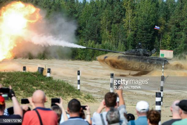 Russian tank T80 performs during the celebrations of Tank's Day in Sertolovo town outside SaintPetersburg on September 8 2018