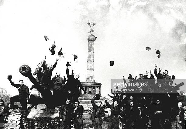Russian Tankist celebrate after the Second World War was declared over May 9 Berlin Germany Russian war photographer Mark Redkin took the photo