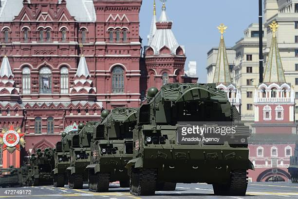 Russian tanks are seen during the Victory Day parade marking the 70th anniversary of World War II Victory in Moscow Russia on May 9 2015