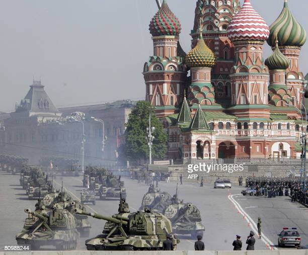Russian tanks leave the Red square during the rehearsal general for the Victory Day military parade in Moscow on May 5 2008 Russian military tanks...